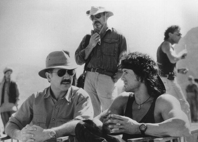 David Morrell e Sylvester Stallone sul set di Rambo.